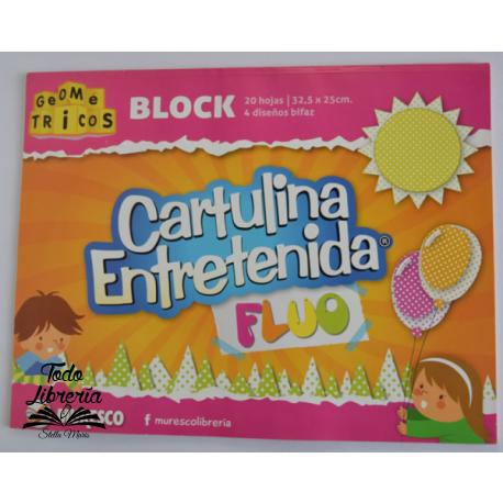 Cartulina Entretenida Muresco block 20 hojas fluo 4 diseños