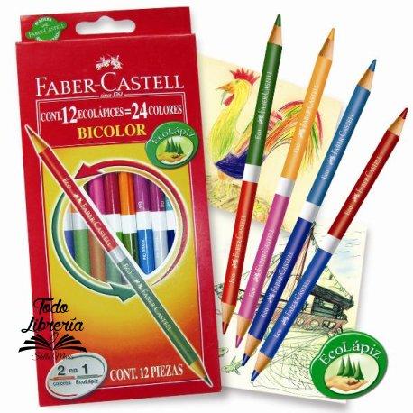 Lápices Faber Castell bicolor 12 unidades x 24 Colores (estuche cartón)