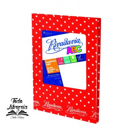 Cuaderno ABC 19 x 23,5 Rivadavia lunares  50 hojas rayado cosido tapa dura