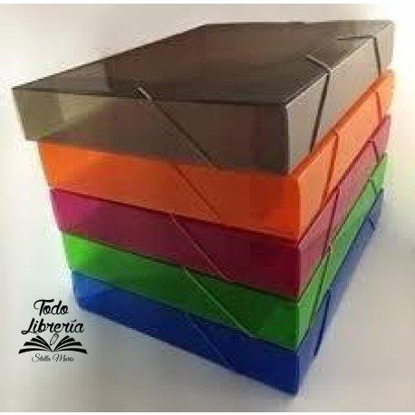 Caja archivo plástica con elástico Rideo oficio lomo 6 cm