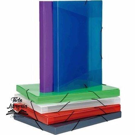Caja archivo plástica con elástico Rideo oficio lomo 4 cm