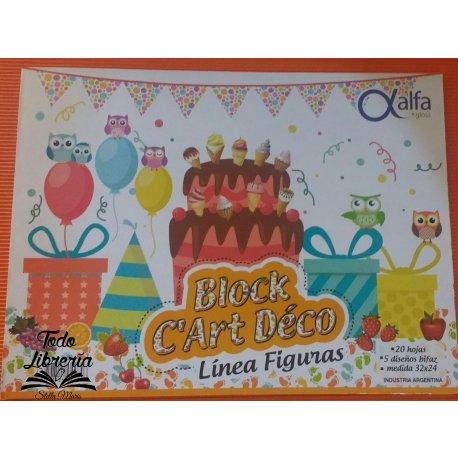 Block C´Art Déco Alfa figuras 20 hojas, 5 Block C´Art Déco Alfa figuras 20 hojas, 5 diseños medida 32 x 24diseños medida 32 x 24
