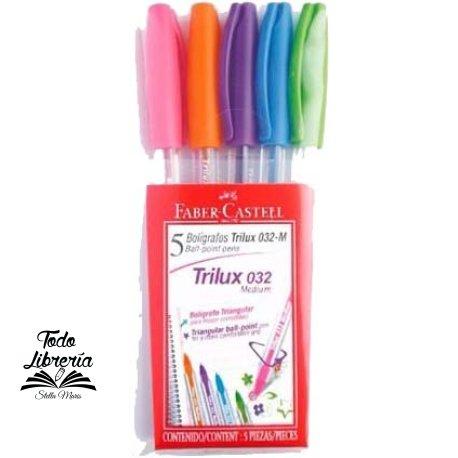 Bolígrafo Faber-Castell trilux 032 m blister x 5 colores