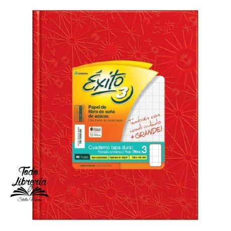 Cuaderno Nº 3 Exito forrado  tapa dura 48 hojas cuadriculado grande